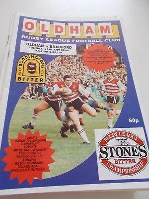 22.1.89 Oldham v Bradford Northern programme