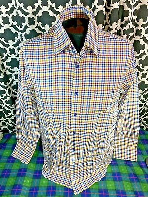 Robert Talbott White Red Gold Blue Plaid LS Dress Shirt - Sz. M