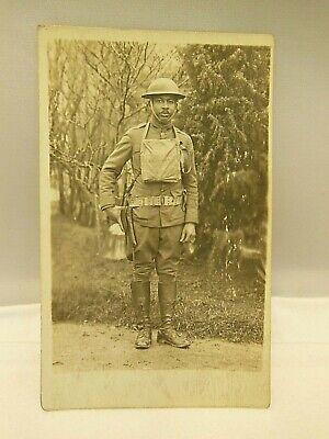 RPPC BLACK AMERICANA SOLDIER MILITARY WW1 REAL PHOTO POSTCARD UNUSED