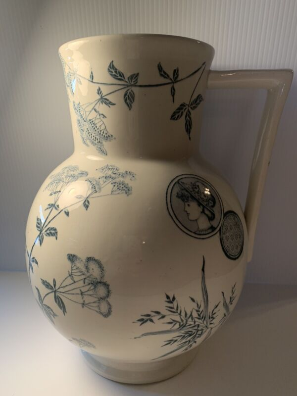 Aesthetic Movement 19th Century Water Pitcher Turner & Sons Vintage Transferware
