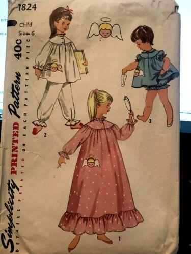 1824 Vintage Simplicity Childs Sz 6 1960