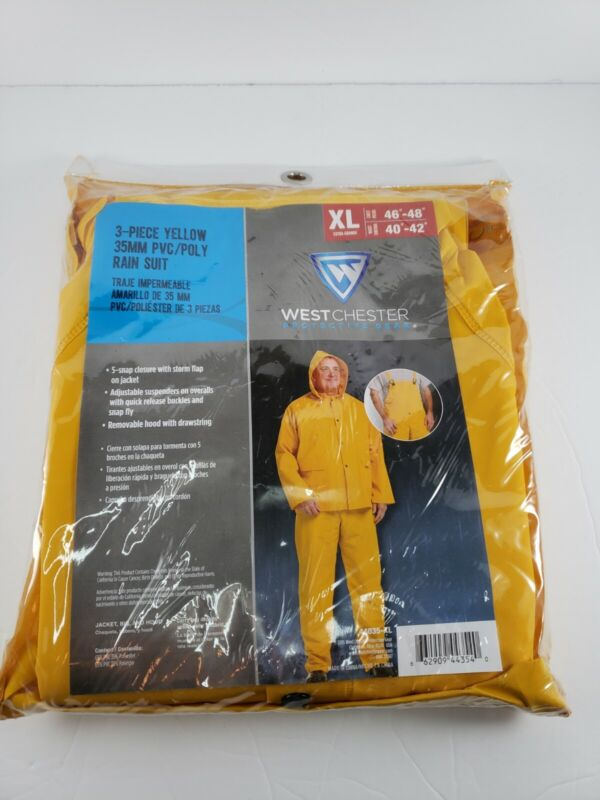 WestChester 3Pc Yellow Protective Gear PVC Poly Rain Suit XL Brand New in Bag