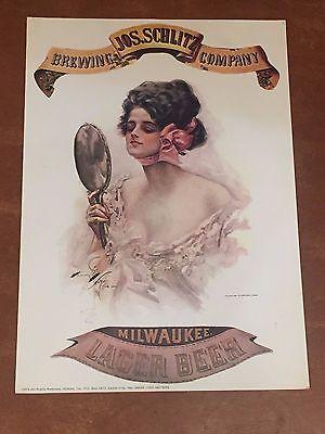 Vintage Schlitz Beer Advertising Poster Harrison Fisher Print of Lady in Dress