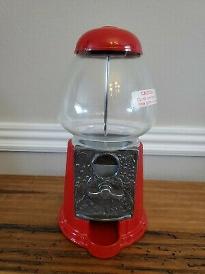 "1985 Carousel Bubble Gum Machine Red Cast Metal Glass Globe 9.5"" Height"
