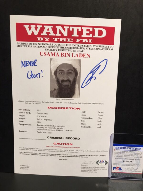 Robert O'Neill Signed Auto Osama Bin Laden FBI Wanted Document 8.5x13 - PSA ITP