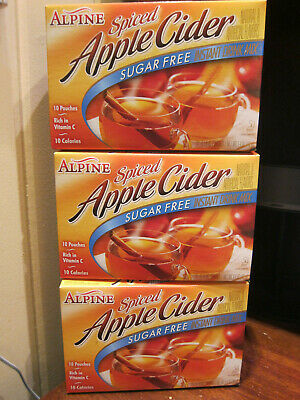 Sugar Free Alpine Spiced Apple Cider LOT of 3 boxes (30 envelopes)