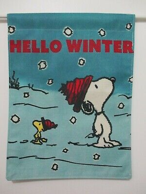 PEANUTS SNOOPY WOODSTOCK HELLO WINTER WATCHING SNOWFALL- SMALL 13x18 FLAG - NEW
