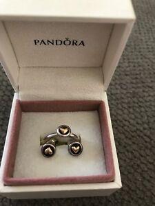 Two tone pandora ring & ear rings
