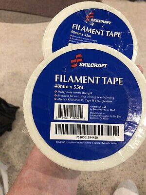 2 Rolls Filament Packing Shipping Strapping Tape 2 X 60 Yds Mfg Skilcraft