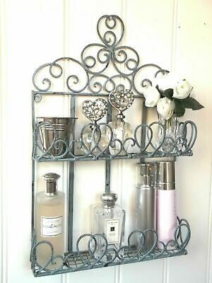French Vintage Style Metal Wall Shelf Unit Storage Cabinet Bathroom Shabby Chic