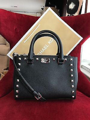 NWT MICHAEL KORS SAFFIANO LEATHER KELLEN STUDDED XS SATCHEL BAG IN BLACK/SILVER