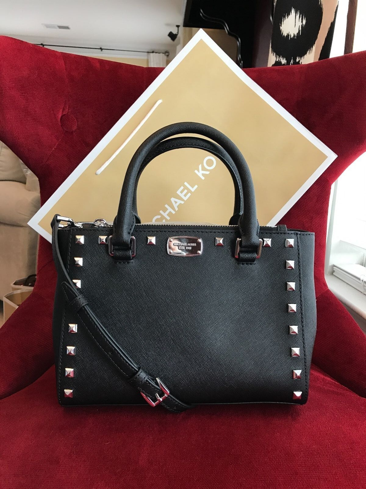 Michael Kors - NWT MICHAEL KORS SAFFIANO LEATHER KELLEN STUDDED XS SATCHEL BAG IN BLACK/SILVER