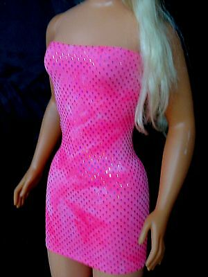 HOT PINK SEQUIN LYCRA DRESS FOR MY SIZE 3' DOLL