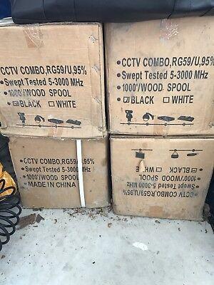 SIAMESE RG59/U CCTV COAX CABLE VIDEO 18AWG 1000 FT black