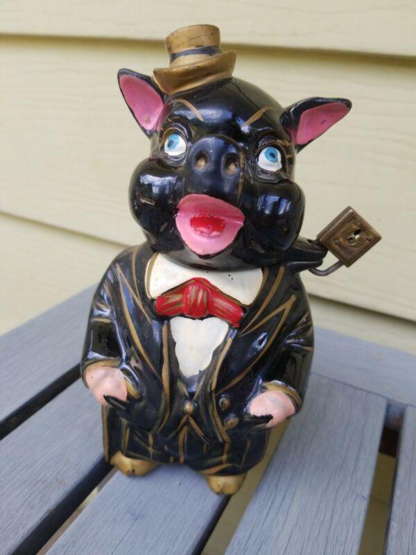 Vintage Redware Ceramic Piggy Bank padlock  PigMan Scarey Creepy