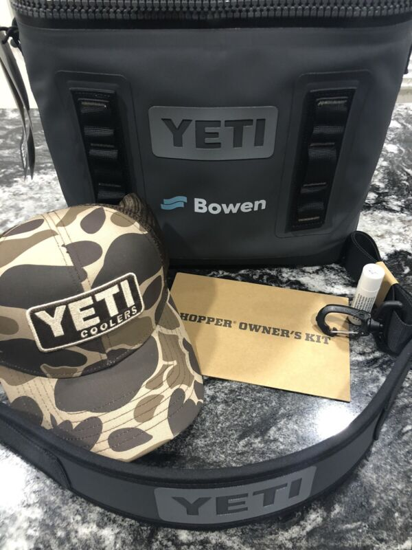 New YETI Hopper Flip 12 Portable Soft Cooler Charcoal Mod GS3130-1 With Yeti Hat