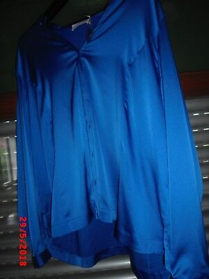 SATIN Bluse   DAMEN Wäsche Gr. 48 satinblau GLANZ glatt   J. Williams Work 9023eb5325