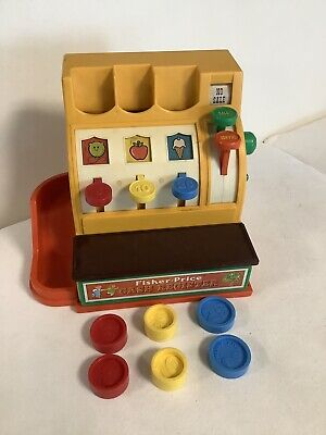 Vintage Fisher Price Cash Register with Coins 1974 #936 EUVC