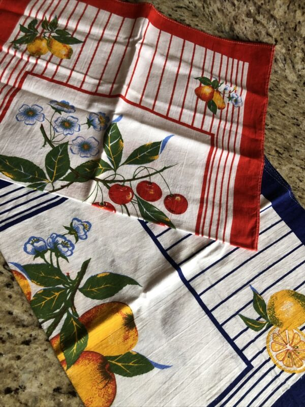 2 New Vintage Fruit & Floral 100% Cotton Dish Tea Towels ? Made In Germany