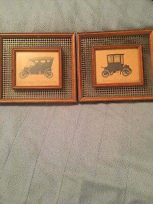 RARE PAIR VINTAGE 1952 EVELYN CURRO BAKER ELECTRIC 1906/MODEL T 1910 CAR LITHO