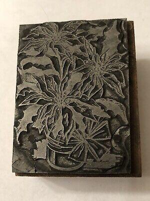 Printing Letterpress Printers Block Flower Floral Poinsettia