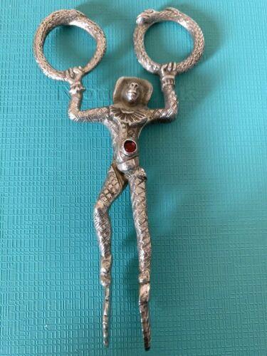 German 800 Silver MONKEY Jester Sugar Tongs Nips Rhinestones GOOD DETAIL
