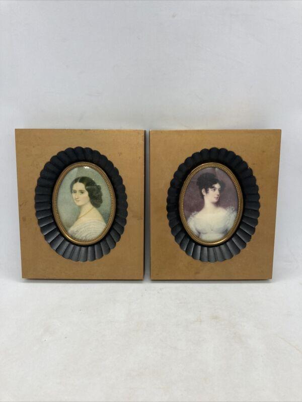 Lot 2 Antique Vintage Cameo Creation Victorian Lady Print Plastic Photo Frames