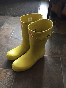 Lime green Hunter boots size 8