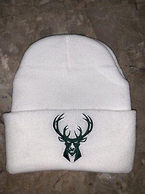Milwaukee Bucks White Skull Cap Beanie Winter Hat - One Size Fits All](Milwaukee Bucks Winter Hat)