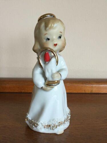 Vtg Lefton Christmas angel holding candle Japan figurine spaghetti halo gilt
