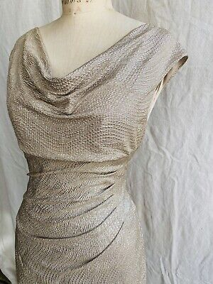 Lauren by Ralph Lauren Silver Metallic Lame Cocktail Sheath Ruched Dress sz 10