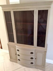 Antique display cabinet buffet hutch mahogany