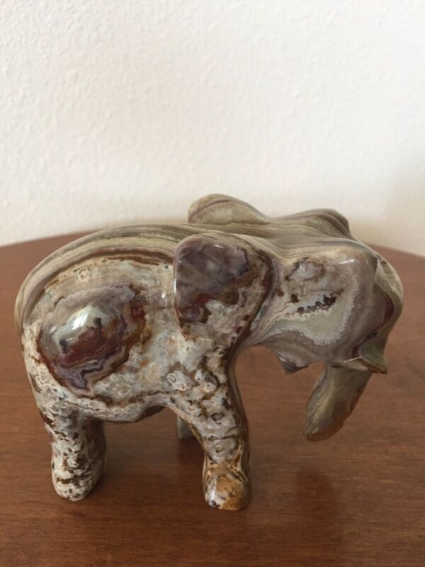 Onyx Stone Marble Carved Elephant Figurine Trunk Down