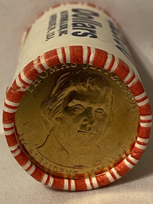 Thomas Jefferson Presidential $1 Dollar 25 Coin Roll Uncirculated Unopened