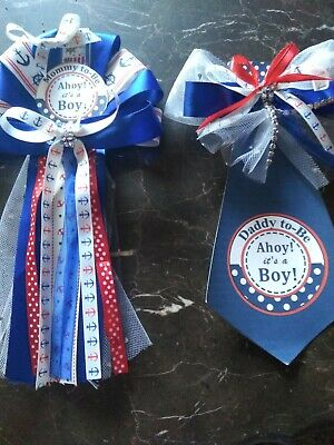 Baby Shower Sailor Theme (  Baby shower  corsage  Mommy &  Daddy to be Navy Nautical Ocean Sailor )