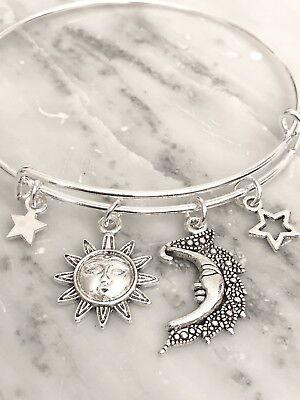 Celestial sun~moon & stars Silver charm Expandable Bangle Bracelet