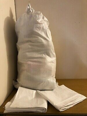 PACK OF 10 WHITE WOVEN (WPP) HEAVY DUTY  REUSABLE RUBBLE BAGS/SACKS  70 x 140