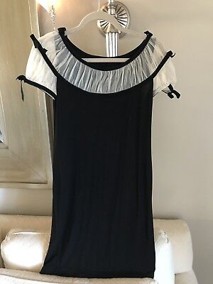 Stretch-illusion (Betsey Johnson Black Stretch Illusion Bow Detail Tunic Top Mini Dress Black $220)