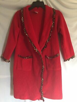 The Childrens Place Girls Red/Leopard Trim Fleece Robe Sz7/8 Pre-owned