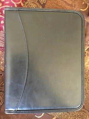 Classic 1.0 Black Gray Leather Day Runner Planner 7 Ring Binder Franklin