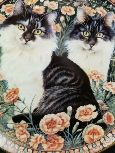"""1996 LE Lesley Anne Ivory Cats Among the Flowers """"Baros & Natchie in Carnations"""""""