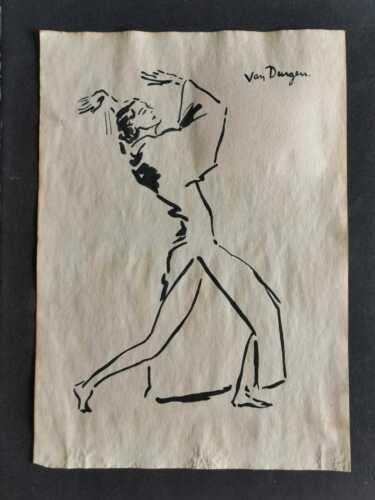 KEES VAN DONGEN DRAWING ON OLD PAPER MIXED MEDIA VTG ART