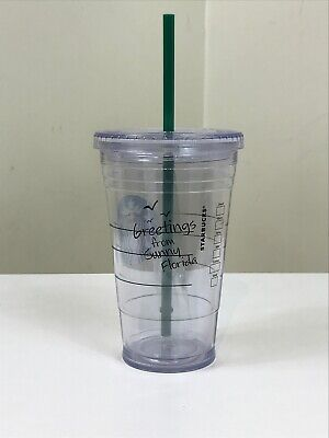 NEW Starbucks Greetings From Sunny Florida Grande Tumbler Plastic Cup Clear 16oz