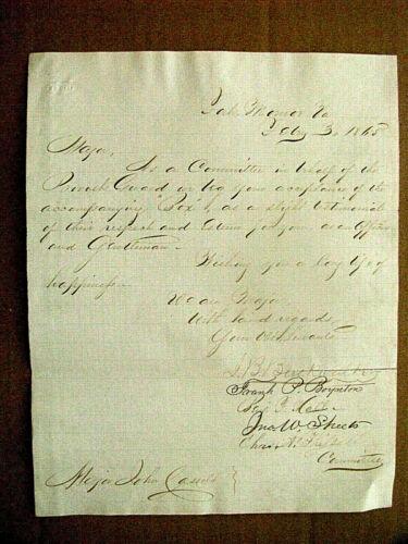 CIVIL WAR PRESENTATION LETTER FOR GIFT TO BELLE BOYD JAILOR JOHN CASSELS