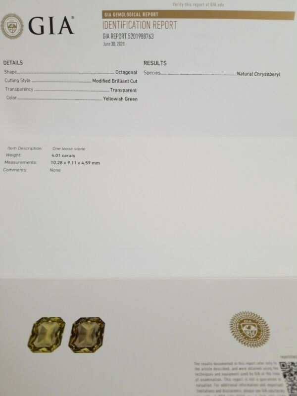 GIA Certified VVS 4.01 Ct Natural Yellowish Green Chrysoberyl Octagonal Gemstone
