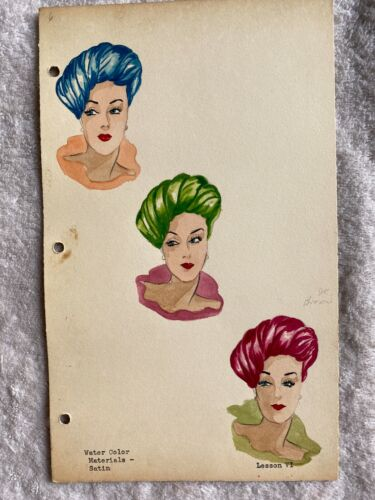 Fashion illustration watercolor painting 1950s? satin headwear decor for store