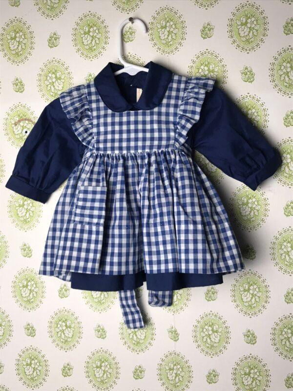 Vintage Castro And Co Little Girls Blue Dress Set Sz 6 Months -See Desc.