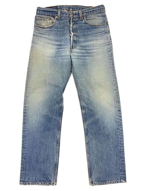 32x29 Vtg Levis 501 Jeans 90s USA Made Faded Light Wash Blue Denim