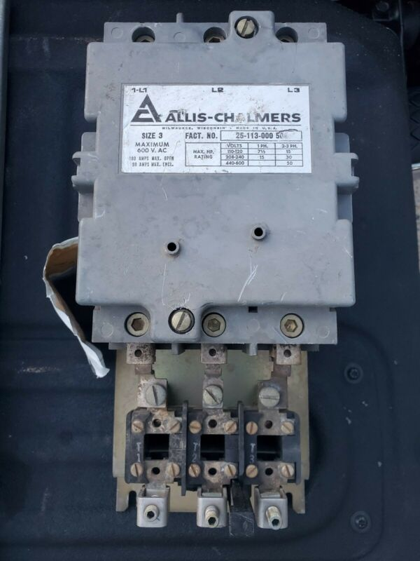 Allis Chalmers Size 3 Motor Starter Contactor 110 - 600 Volts
