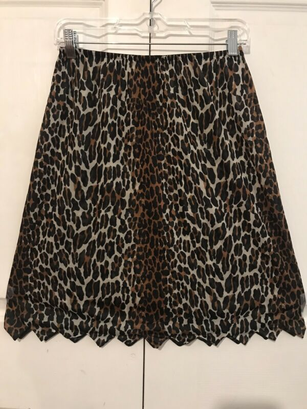 VTG Half Slip Vanity Fair Leopard Exotic USA Nylon Large Spikes Scallop Hem Rate